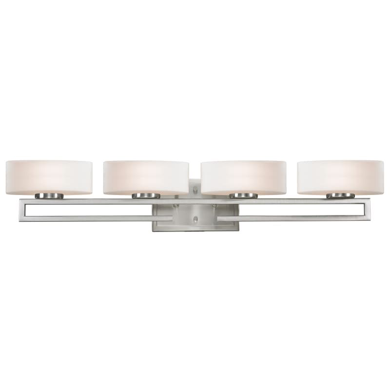 Photo of Z-Lite 3010-4V Cetynia 4 Light Bathroom Vanity Light with Matte Opal Glass Shade Brushed Nickel Indoor Lighting Bathroom Fixtures Vanity Light