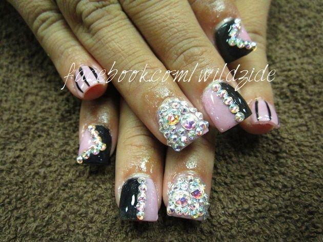 blinged barbie nail art