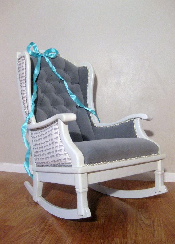 nursery rocking chair cushions uk decor antique vintage rocker white grey velvet upholstered modern chic