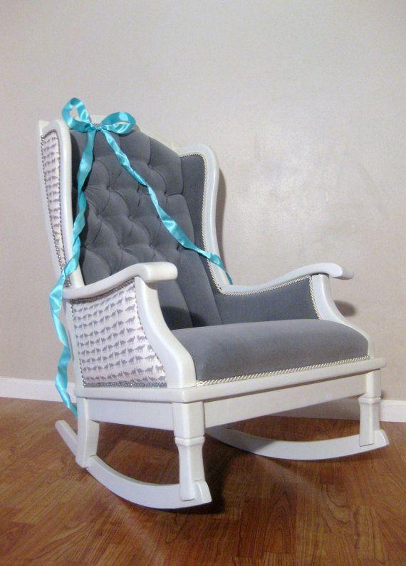 Antique Vintage Nursery Rocker Rocking Chair White Grey Velvet Upholstered Modern Chic Via Etsy