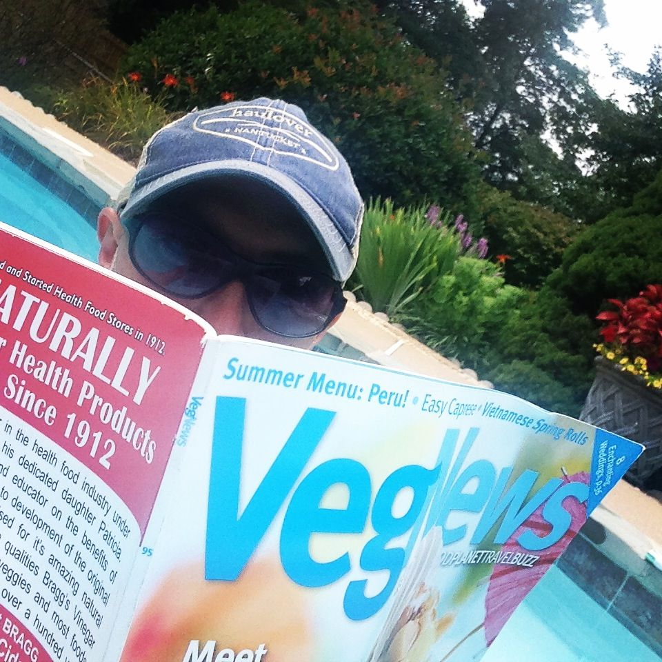 Perfect poolside reading... The new ROCKIN' issue of @VegNews! +++++ #vegan #compassion #summer