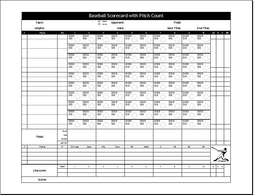 Baseball Scorecard Template Download At HttpWorddoxOrg