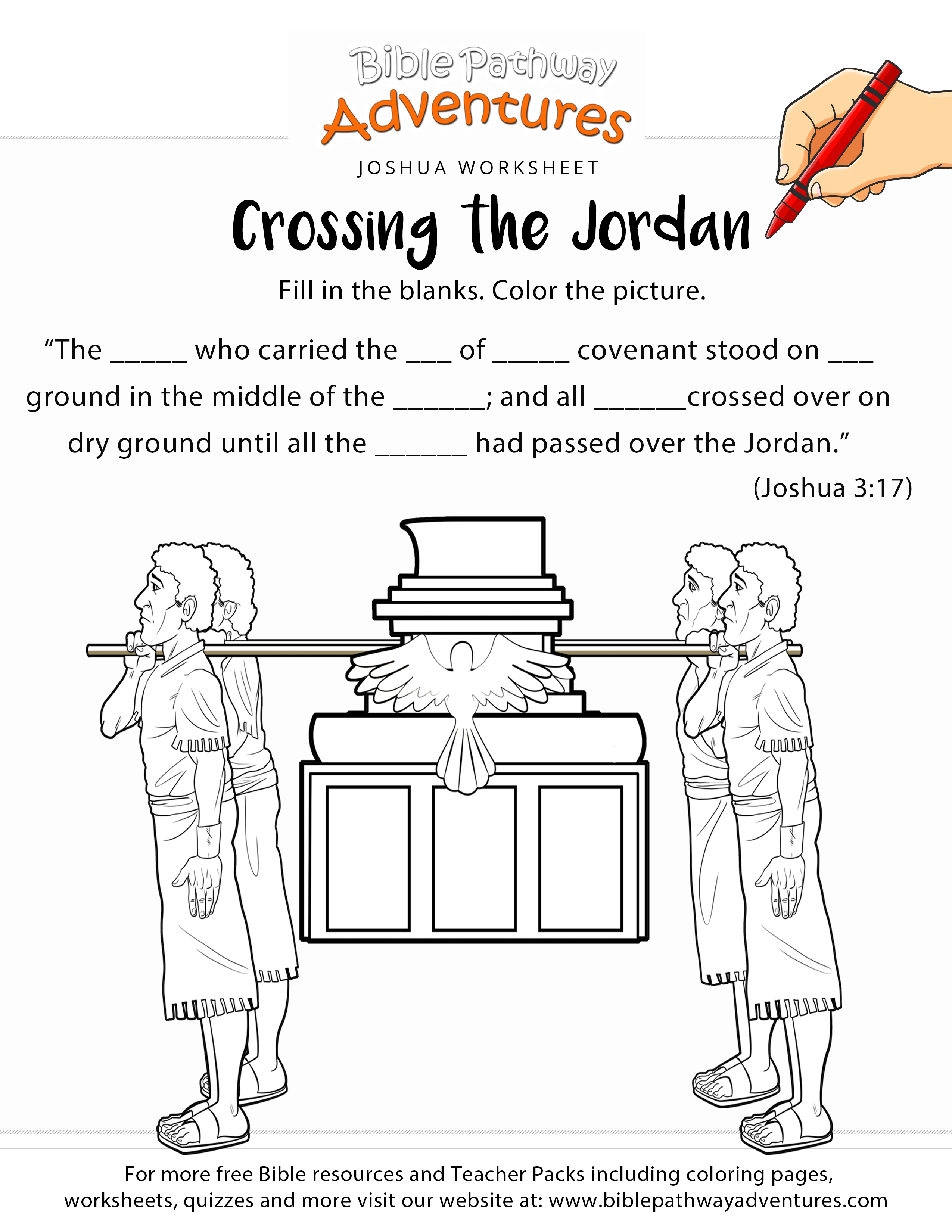Israelites Cross The Jordan River Coloring Page Click Joshua And Pages To View Printable Version Or