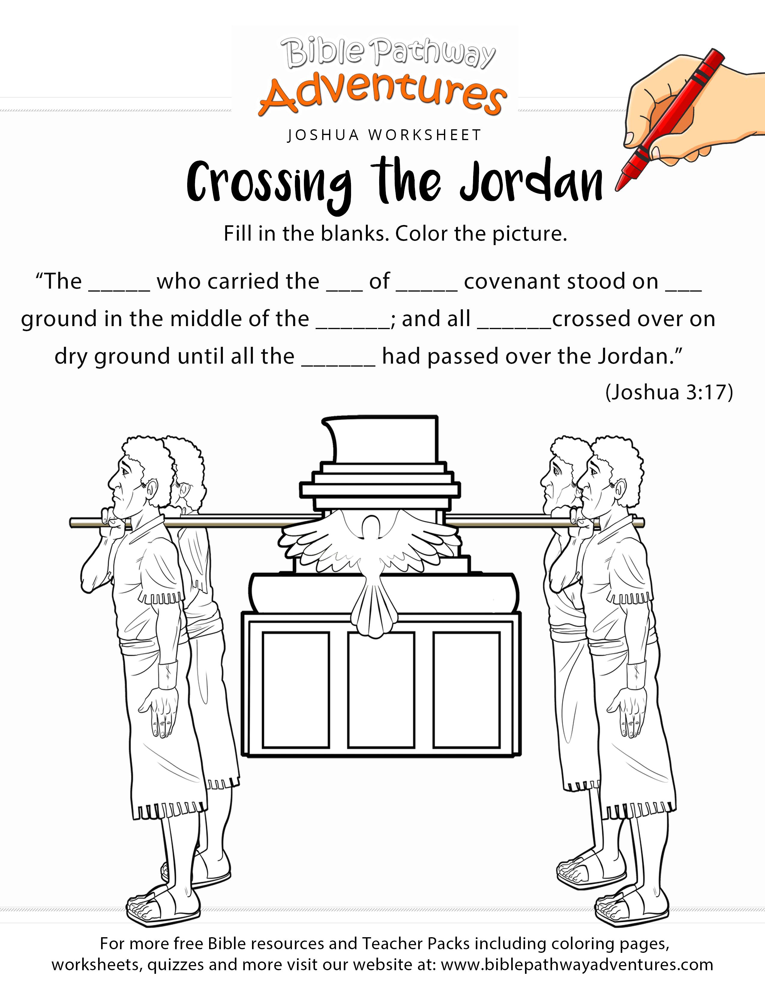 Crossing the Jordan Bible worksheet & coloring page