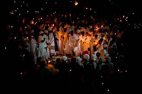 Priests Celebrate Fasika In The Church Bet Medhame Alem Easter