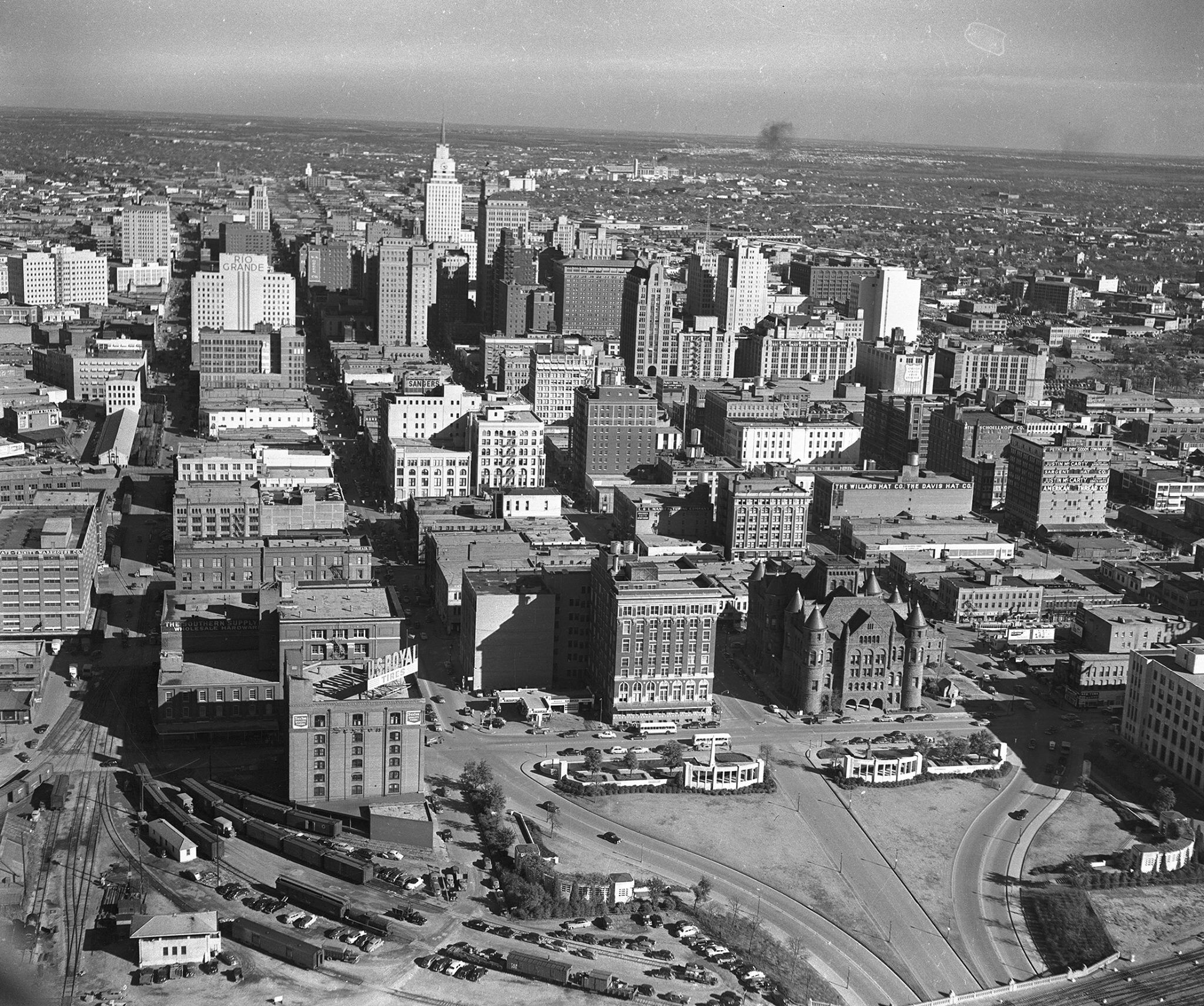 Downtown Dallas Texas 1949 Aerial View From The West