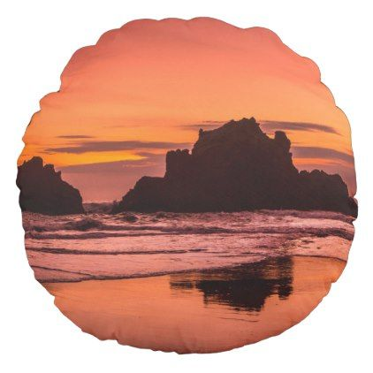 Big Sur Sunset Round Pillow