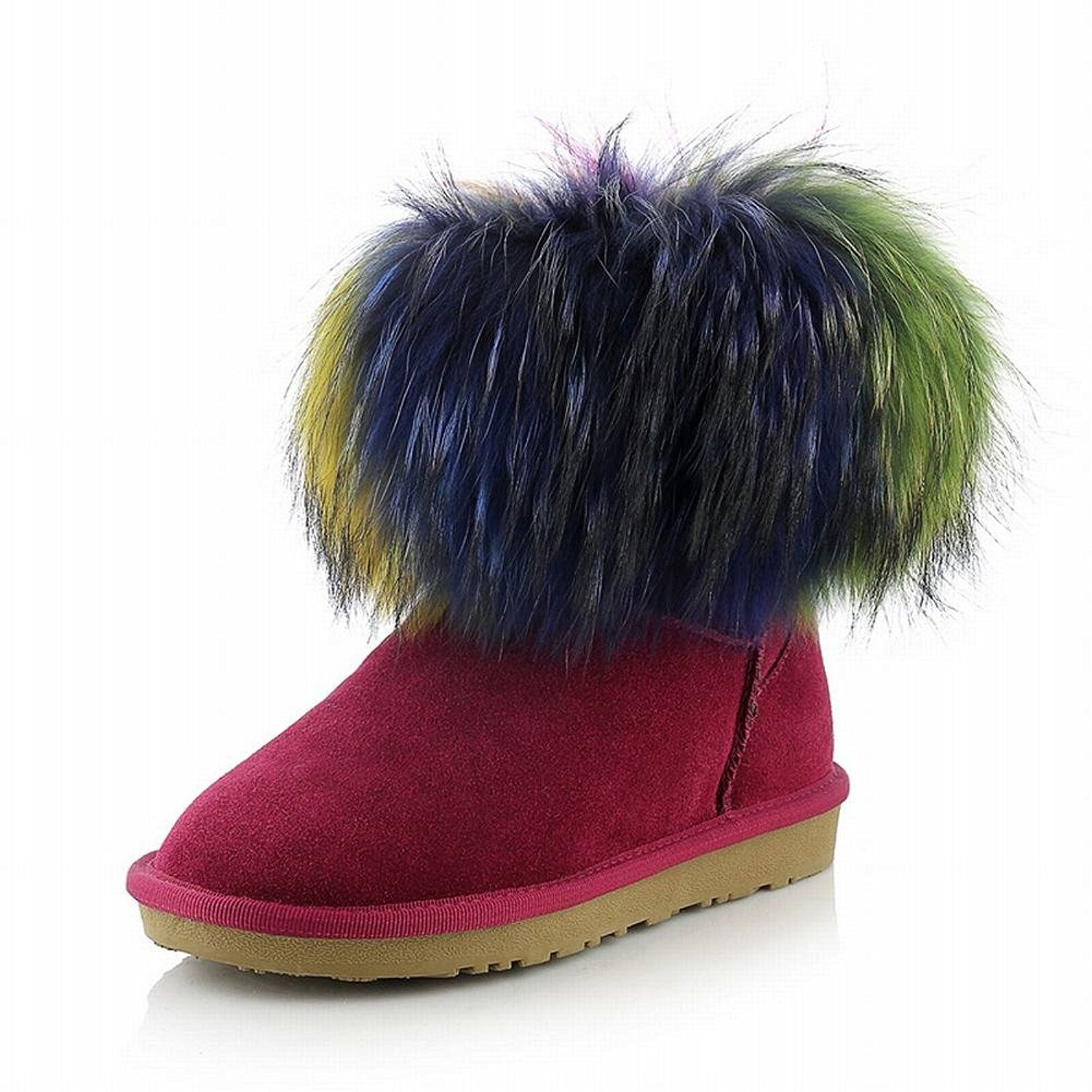Women's Warm Fashion Comfort Multicolor Real Fur Decorations Cow Leather Flat Snow Boots