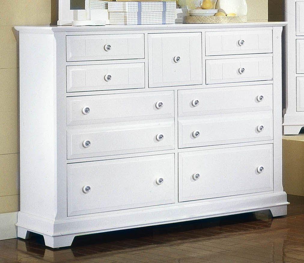 Virginia house cobblestone snow white triple dresser 9 drawers