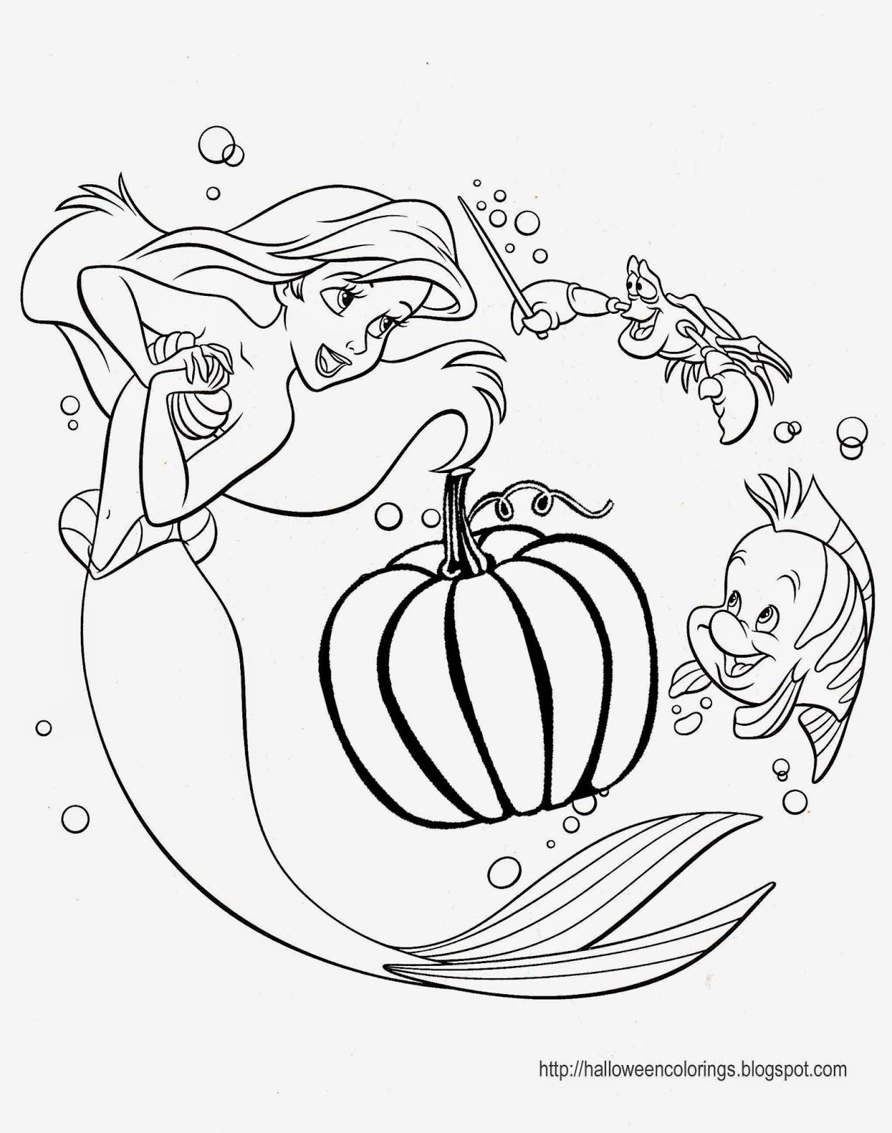 Coloring Pages Disney Walt Princess Ariel Sebastian Flounder680 Copy 1259x1600