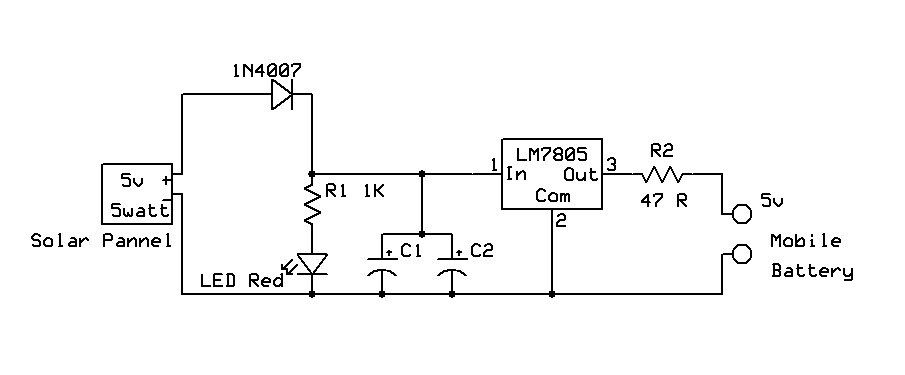 Solar Panel Battery Charger Circuit Diagram   Solar Mobile Charger Circuit Using Lm7805 And Solar Panel Is Very