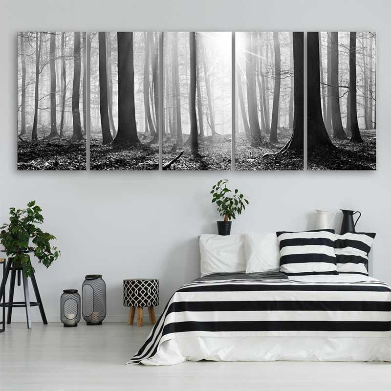 blanc tableau paysage foret gris