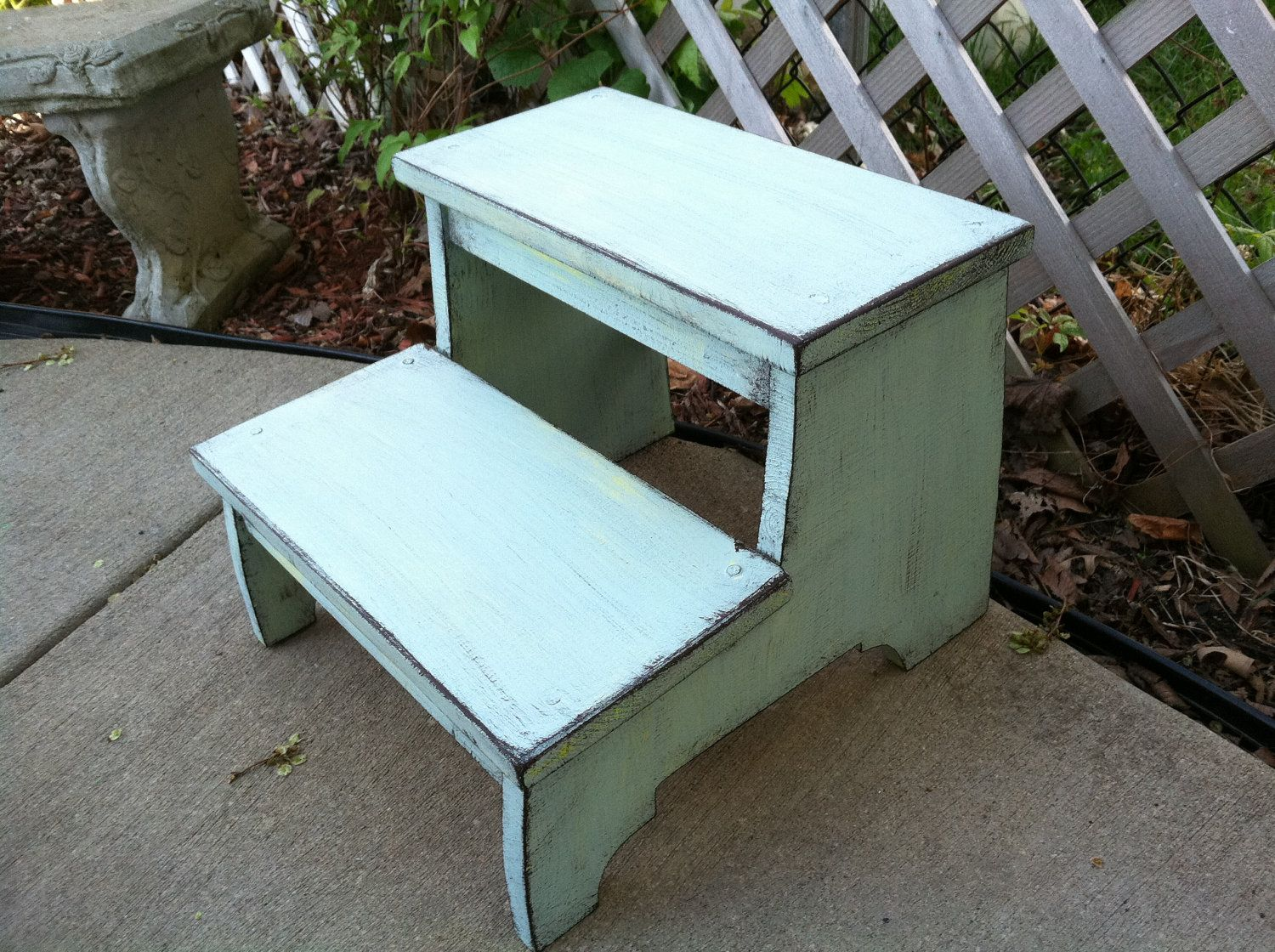 Step Stool, blue/green and a touch of yellow, Distressed, Vintage ...
