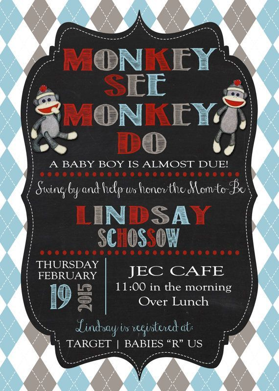 Customized Sock Monkey Baby Shower Invitations By Ajbinvitations