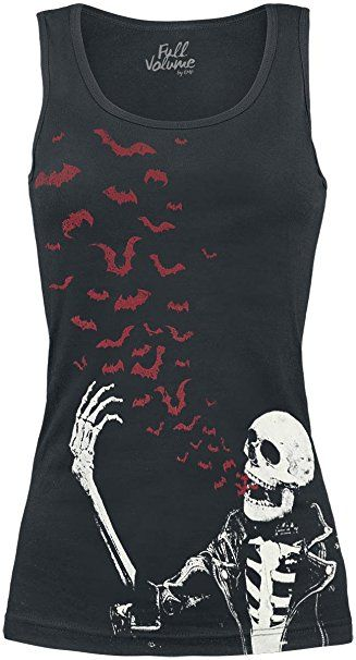 Full Volume by EMP Bat Skull Top Girl-Top schwarz XS
