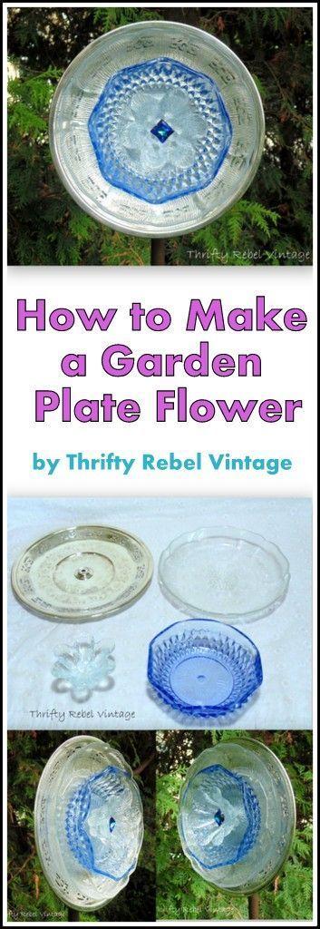 How to repurpose inexpensive thrift store plates and dishes into beautiful garden plate flowers. #diygardenplate #diygardenflower #repurposedflowerproject #gardenart #dishflower