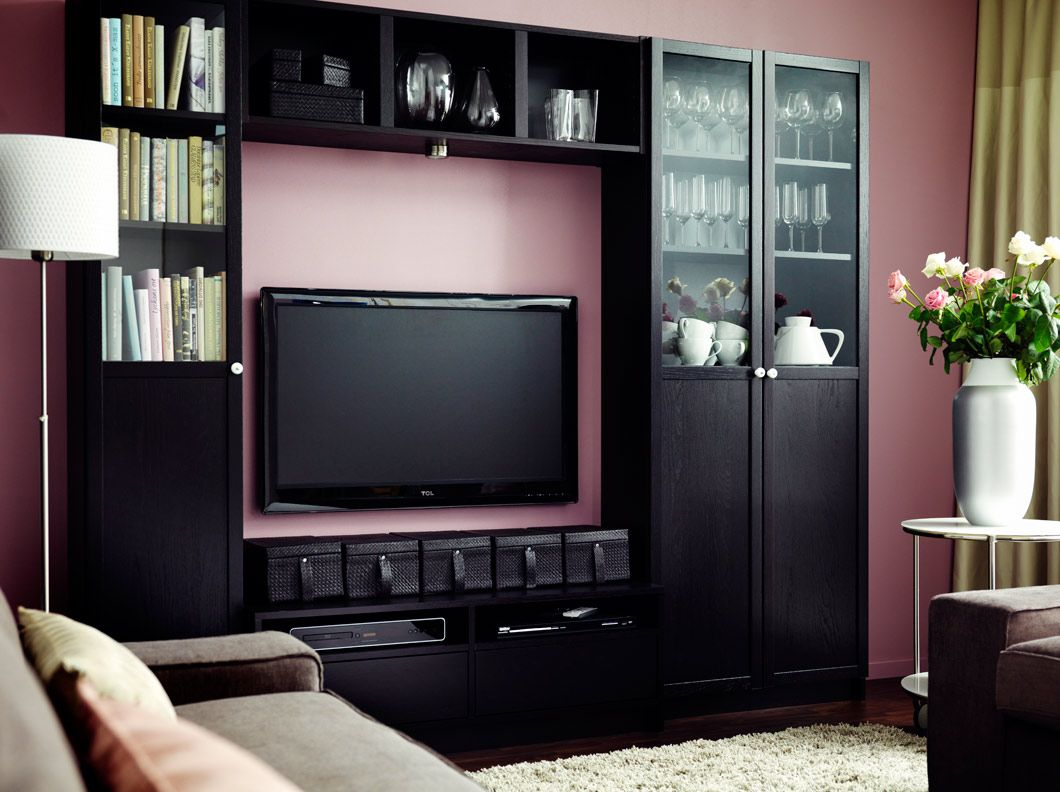 billy black-brown bookcase combination with tv bench | living