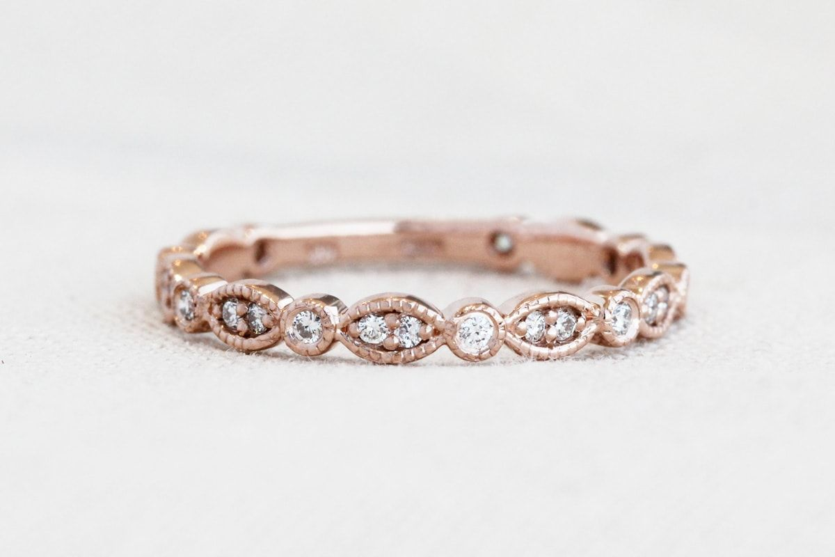 Rose Gold Vintage Wedding Band Wholesale Prices At Diamond And Gold Warehous Gold Wedding Bands Women Vintage Diamond Wedding Bands Wedding Rings For Women
