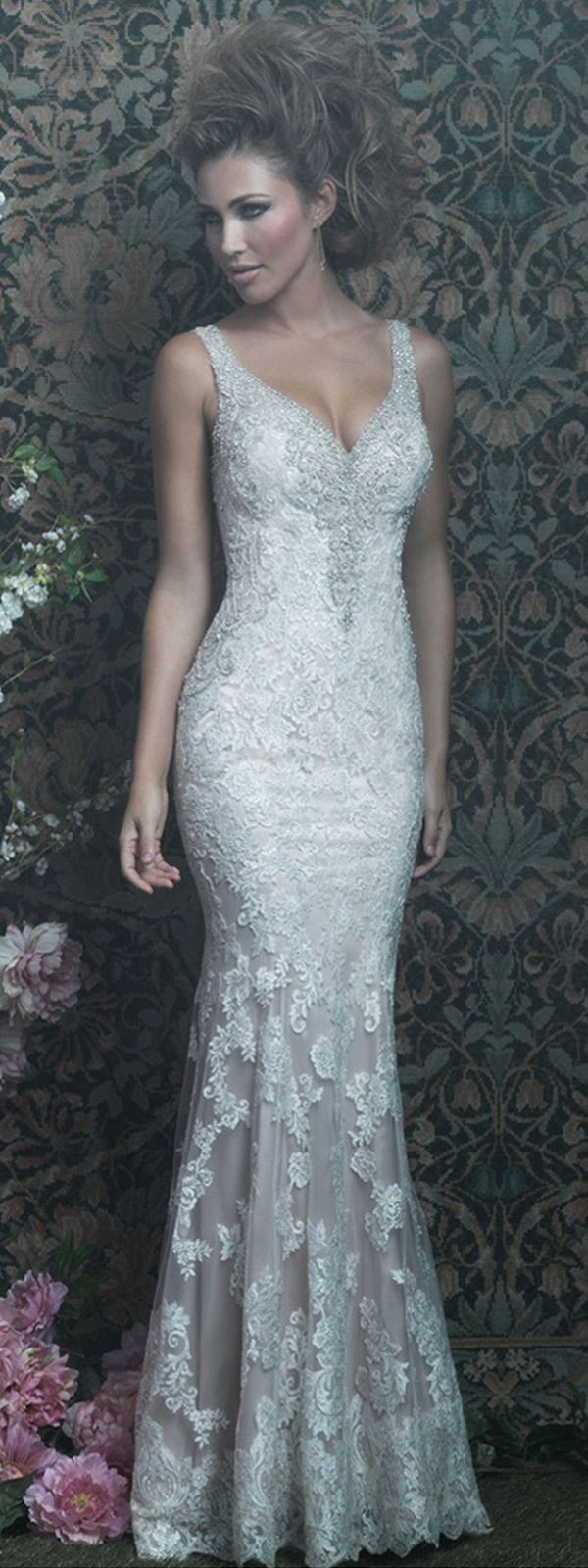 Alluring Tulle & Satin V-Neck Sheath Wedding Dresses With Lace ...