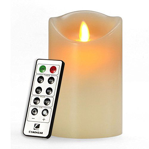 Comenzar 5 Battery Operated Flickering Flameless Candle with Remote Timer of 2468 Hours -- Click on the image for additional details.