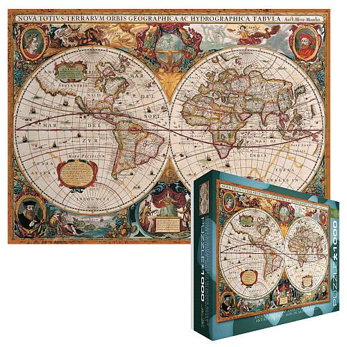 Antique map of the world jigsaw puzzle 1000 piece toysrus antiqued world map canvas print gumiabroncs Choice Image