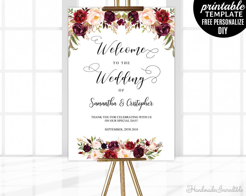 Marsala wedding welcome poster template printable floral welcome wedding sign blush burgundy for Wedding signs templates