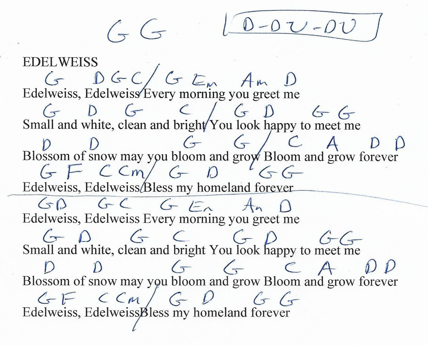 Edelweiss Sound Of Music Guitar Chord Chart Capo 1st Guitar
