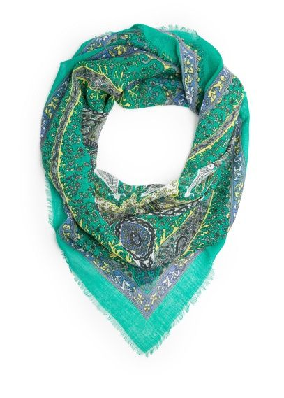 Cotton scarf with baroque pattern