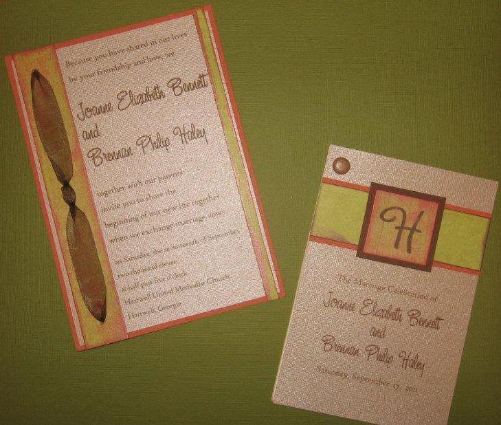 Distressed, layered Wedding Invitation with sheer ribbon; Matching Program with  brad.