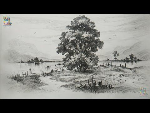 How To Draw And Shade A Tree In A Beautiful Landscape With Pencil Step By Step Youtube Landscape Drawings Landscape Sketch Drawing Scenery