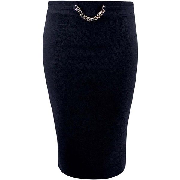 Black Ponte Knit Pencil Skirt With Gold Chain ($25) ❤ liked on Polyvore featuring skirts, black, high waisted pencil skirt, pull on pencil skirt, ponte pencil skirt, gold skirt and knee length pencil skirt