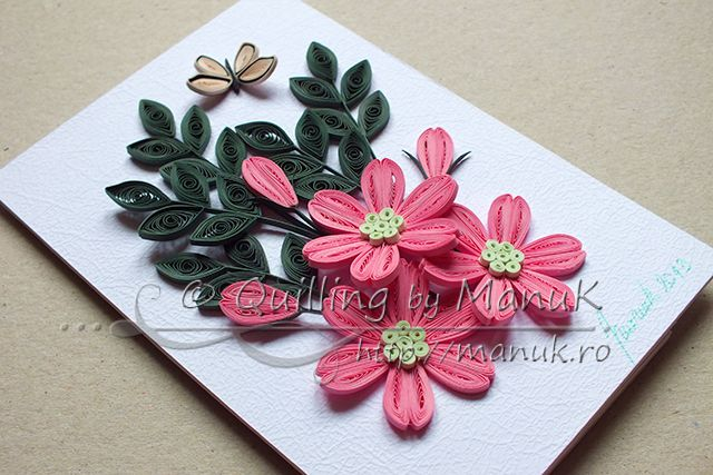 Simple Quilled Flower Arrangement In Pink Quilling Designs