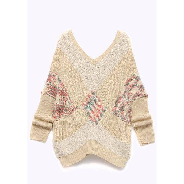 Yoins Plus Size V-Neck Color Block Knitted Sweater in Beige (€36) ❤ liked on Polyvore featuring tops, sweaters, beige, color block sweater, plus size v neck sweater, colorblock top, womens plus tops and women's plus size tops