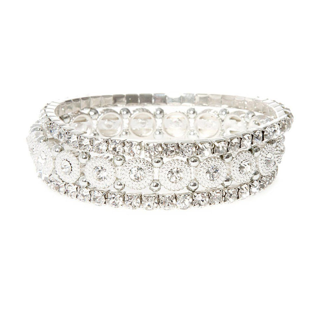 cb8629226d8 Rhinestone and Medallion Stretch Bracelets 3 Pack | Pile on the sparkle and  shine effortlessly. This set includes two thin rhinestone stretch bracelets  and ...