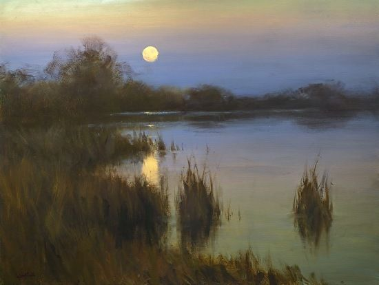 Moss Landing Moonrise 30x40 by Jesse Powell Oil ~ 30 x 40