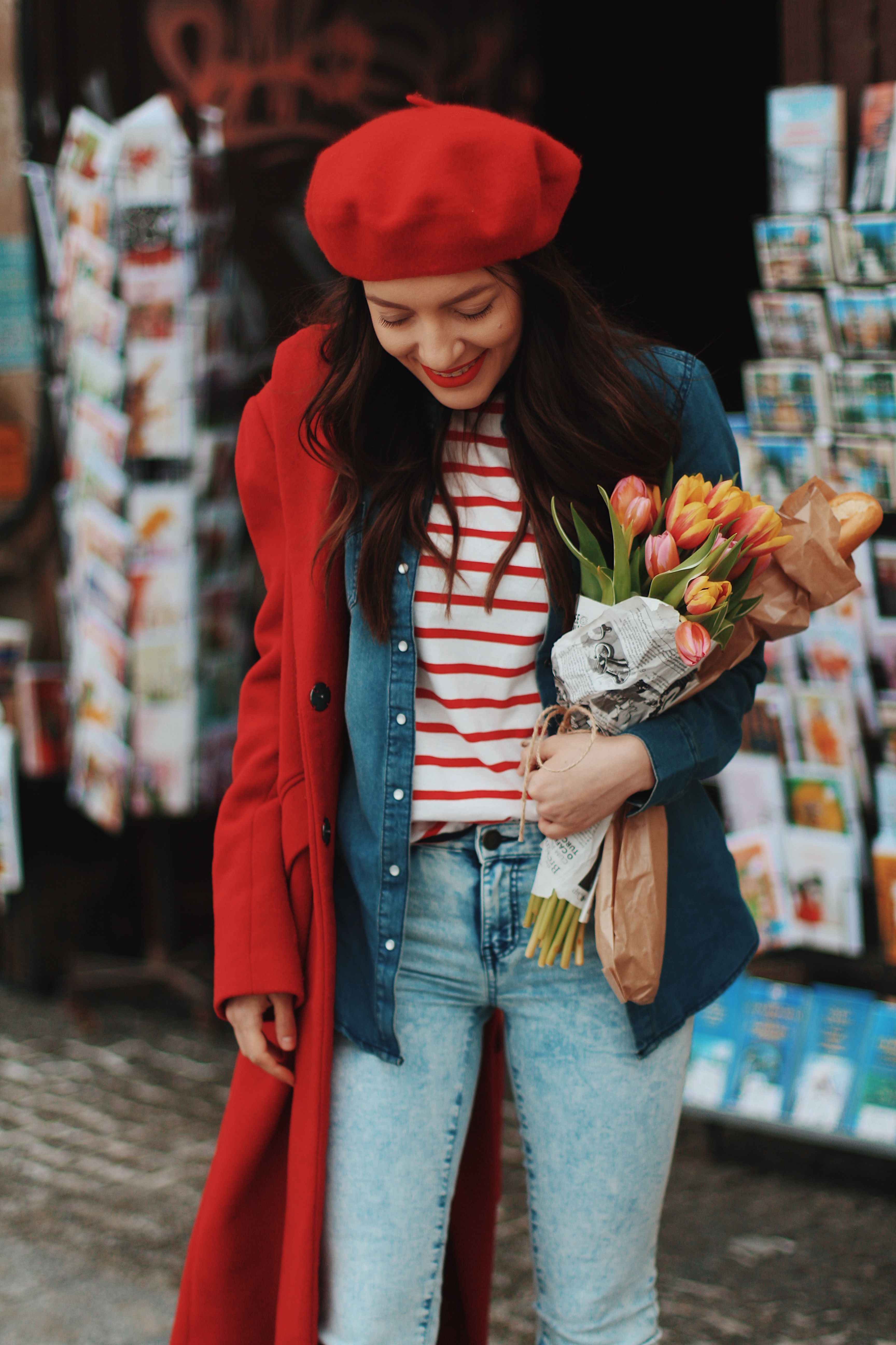 33169ece Stripes and red beret | Style by SandraB.ro in 2019 | Beret outfit ...