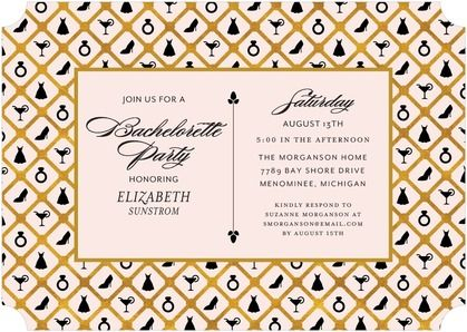 Bachelorette Icons Signature White Bachelorette Party Invitations
