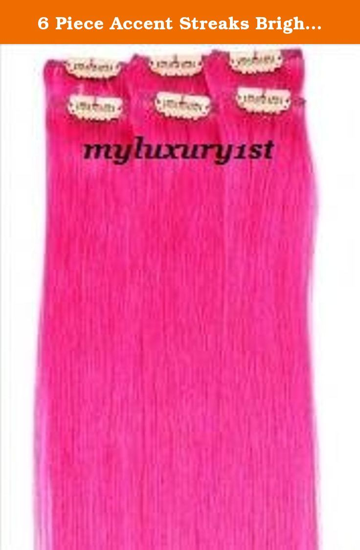 6 Piece Accent Streaks Bright Pink Highlights Clip In Human Hair