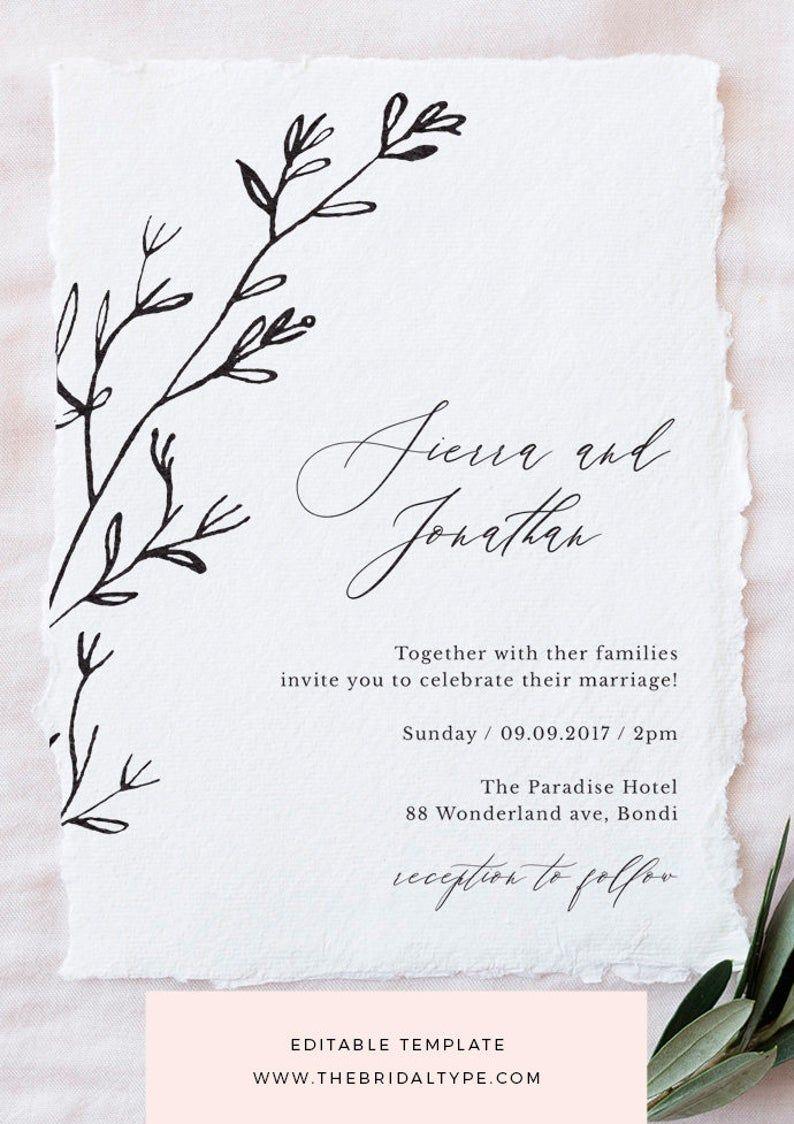 Wedding invitation template Calligraphy wedding