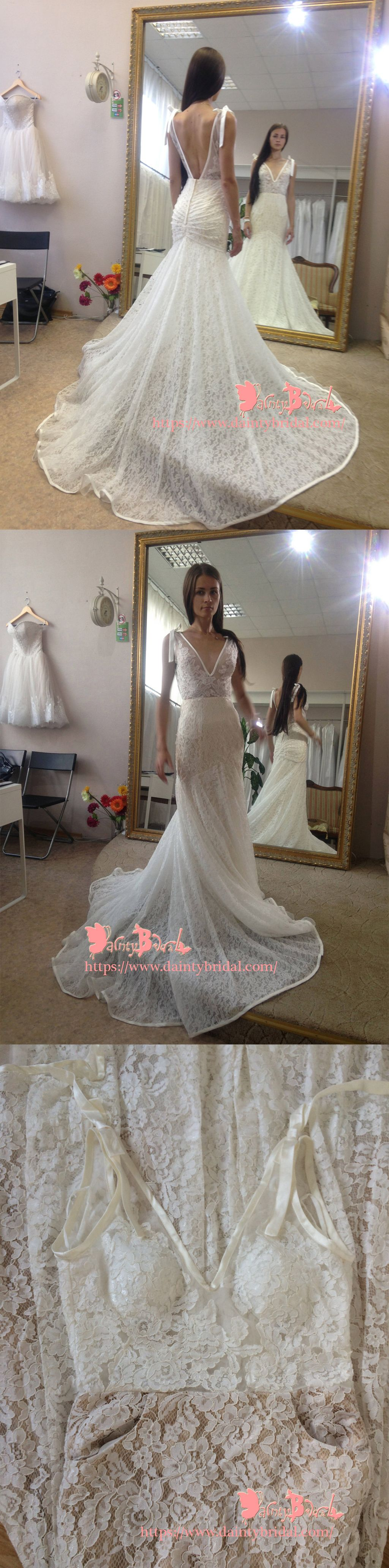 Mermaid wedding dresses with feather bottom  Stunning Fully Lace Backless Vneck Mermaid Pleating Bottom Vintage