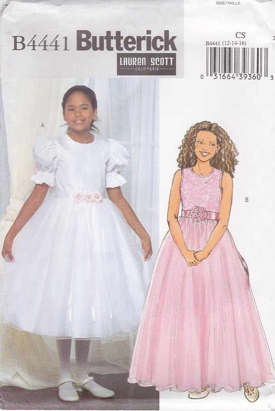 Butterick Sewing Pattern 4441 Girls Size 12 16 Formal Confirmation