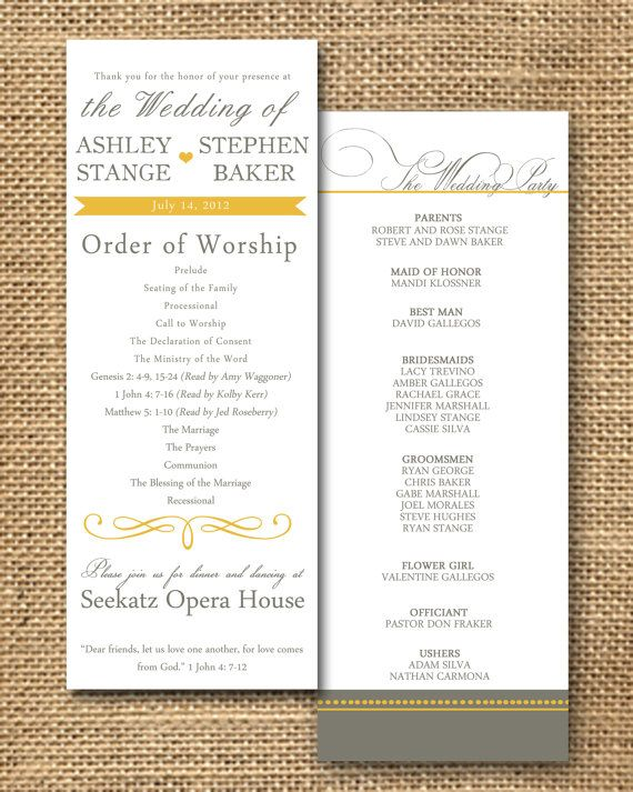wedding program 1 2 page double sided 2 color for printing simple