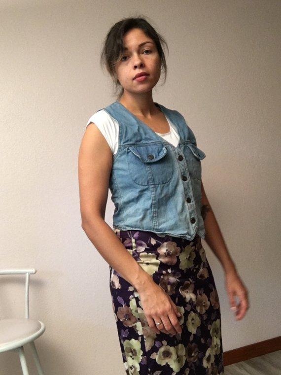 70er Jahre Jeans Weste Vintage Jeans Weste 70er Jahre Kleidung Damen