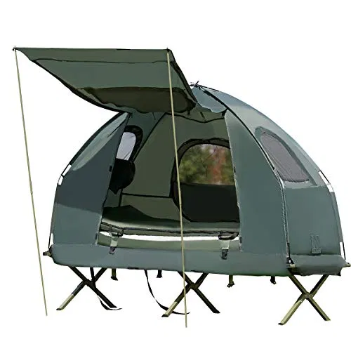 Tangkula 1 Person Tent Cot Foldable Camping Tent With Air Mattress And Sleeping Bag Sale Sleeping Bags And Camp Bedding Shop Outdoorfull Com In 2020 Tent Cot Camping Sleeping Pad Camping Cot