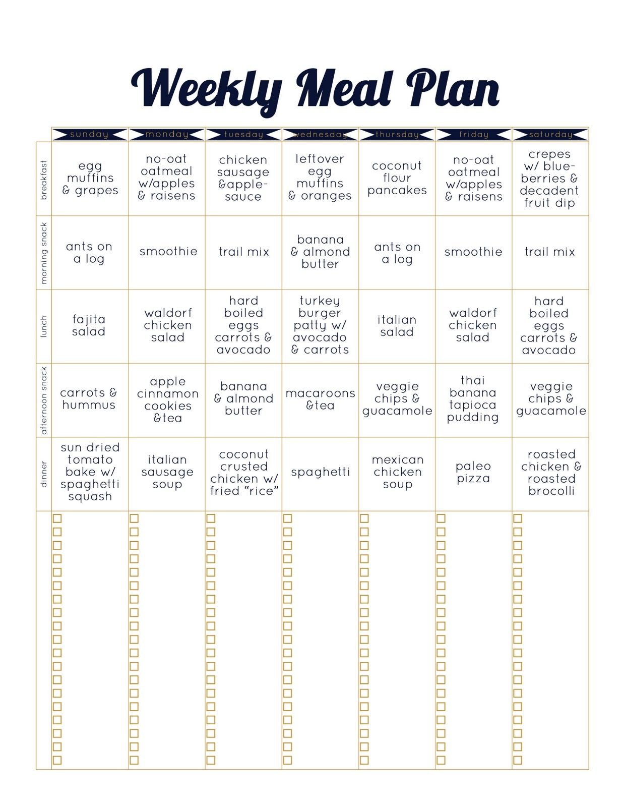 Paleo Template Weekly Meal Plan Paleo Diet Recipes Paleo Meal