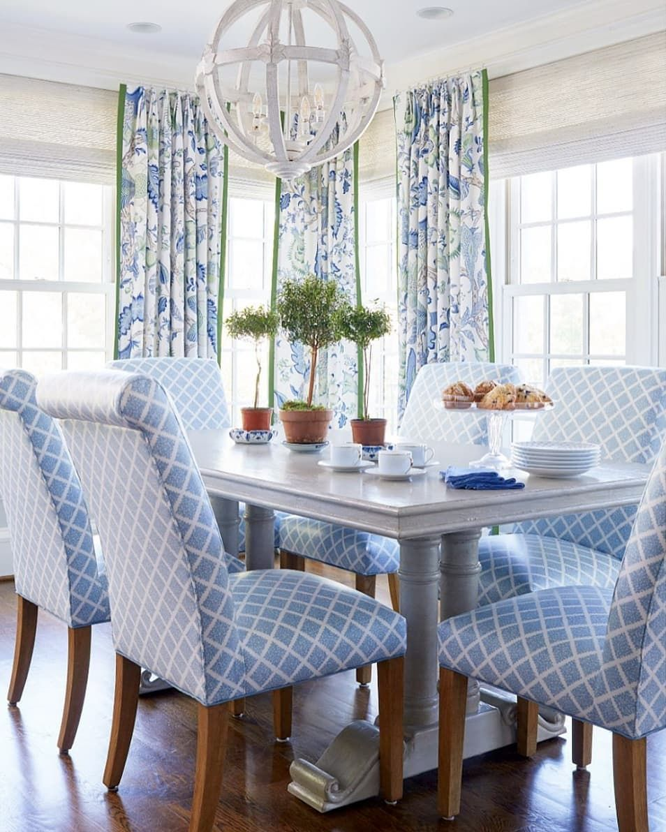 Blue And White Schumacher Arborvitae Print Window Treatments Looks Fab Home Decor Dining Room Curtains Trending Decor