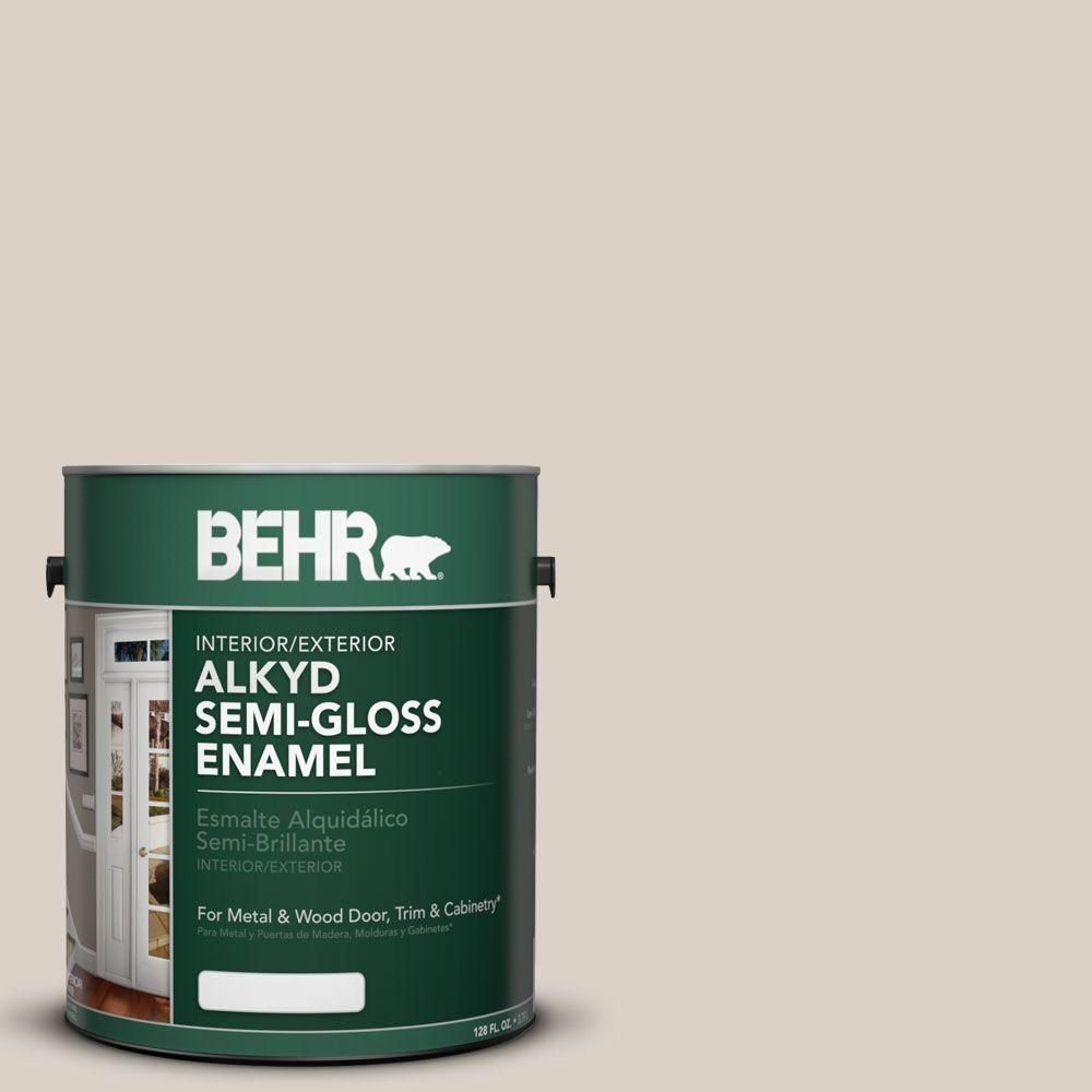 BEHR 1 gal  #AE-9 Manchester Gray Semi-Gloss Enamel Alkyd