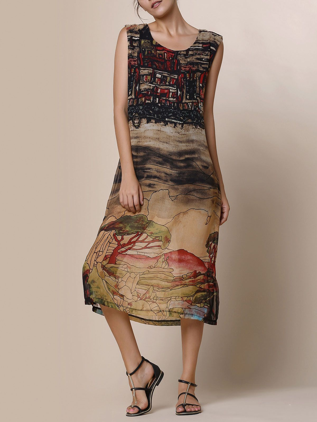 Silky Painted Scenery Dress