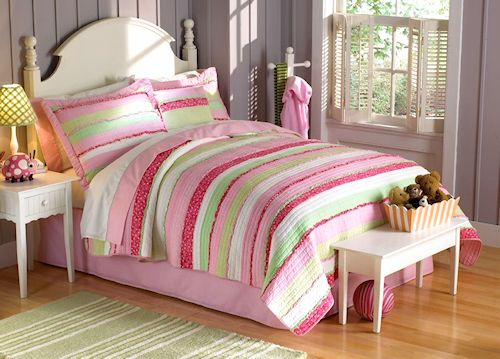 Pink Green Chic Ruffles S Bedding Twin Quilt Set Striped Cotton Bedspread