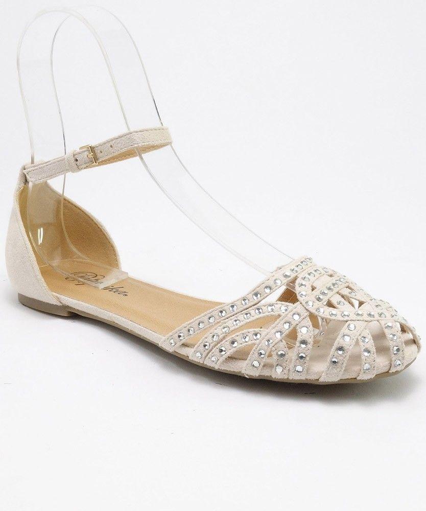 Flat rhinestone sandals for wedding - Paprika Summer Rhinestone Caged Round Toe Ankle Strap Flat Sandals Nude